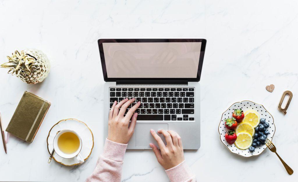 blogger at desk